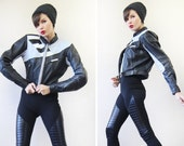 HEIN GERICKE vintage heavy blue black genuine leather women motorcycle moto driver biker fitted protection crop jacket XS-S