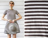 MARIMEKKO brown beige cotton jersey horizontal striped short sleeve fitted summer top XS-S