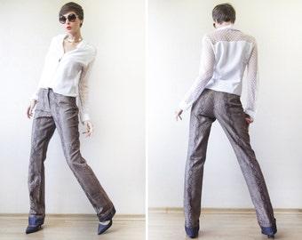ESCADA snakeskin print extra long denim jeans pants S-M