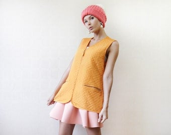 Gold yellow orange pure silk quilted sleeveless vest top L