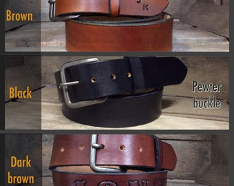 Great Father's Day Gift! Genuine Cowhide Plain Leather belt great for that everyday use.  Can be personalized too!