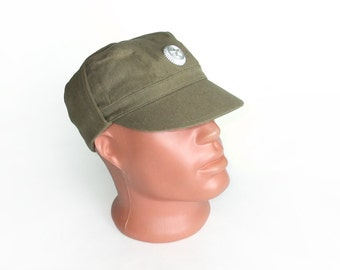 Vintage Military Men's Hat,  Soviet Soldiers Green Hat, Gift for Him