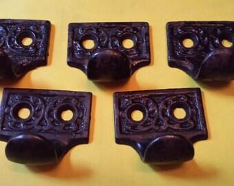 5 Eastlake Victorian Window Sash Finger Pulls