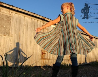 Upcycled slight summer dress 5 to 6 years  blue and brown stripes children clothing eco-fashion unique ge la pied sur la pedale