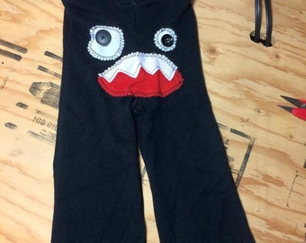 "Upcycled Trousers ""Monsters""  upcycled children clothing  Ge, le pied sur la pédale"