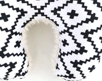 Nursing Pillow Cover Black Southwest Diamonds + Cloud. Nursing Pillow. Nursing Pillow Slipcover. Minky Nursing Pillow Cover.