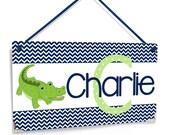 personalized baby boy bedroom door sign - reptile aligator chevron boys nursery decor - blue and green decor - P626