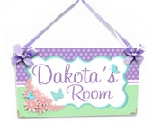 Lovely flowers and butterflies in pastel colors turquoise mint pink purple girls door sign - P2244