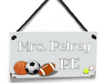personalized sports theme PE teacher gym door sign - soccer football basket rugby - P690