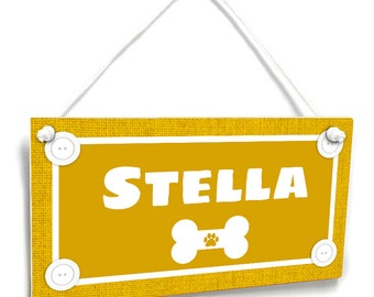 Customized Pet Wall Sign - Simple Mustard Burlap with a White Dog Bone - P2449