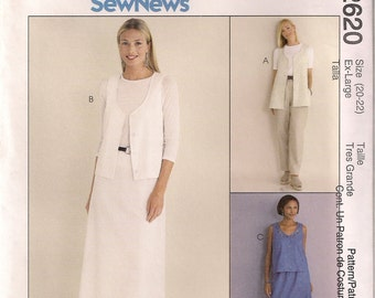 McCall's Sewing Pattern 2620 - Misses' Vest, Pants, and Skirt (16-18, 20-22, 24-26)