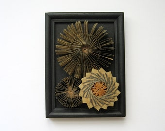 Paper Sculpture - Framed Wall Art - Waxed Paper Cogs No8 Paper Succulents - Library Book Sculpture - Black Home Decor - Contemporary Art