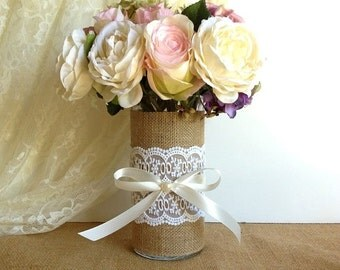 ON SALE burlap and lace vase, wedding decoration, bridal shower decor, home decor, gift or for you NEW