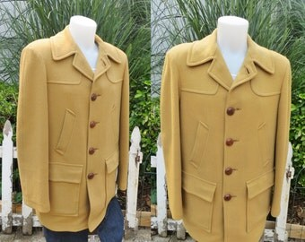 Vintage Pendleton wool coat,mens vintage winter coat,camel color wool pendleton mens coat, size large mens pendleton coat,mens car coat
