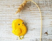 Chicken Brooch, Chicken Cute Gift, Yellow Chicken Pin