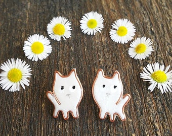 Stud earrings - Little Whit Kitten, Cat stud earrings. Kawaii jewelry
