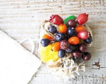 Brooch Berry Boutonniere Art pin Boho accessories, Rosehip Blueberries Buckthorn, Bright brooch, Beaded brooch