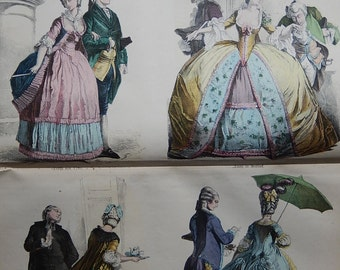 Antique Costume History book by Braun & Schneider hand coloured illustrations printed in Germany 1800s.  92 Pages