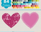 70% SALE Lace Hearts Clip Art, Rainbow Heart Frames, Colorful Heart Labels Vector Graphics, Huge Clipart Pack - INSTANT Download