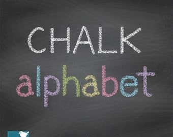 70% SALE Hand Drawn Chalk Alphabet - Digital Clipart / Scrapbooking colorful - card design, invitations, web design - INSTANT DOWNLOAD