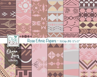 Rose Ethnic Digital Papers, Aztec Scrapbook Paper - Tribal Papers - Pink and Brown- Ethnic Papers - INSTANT