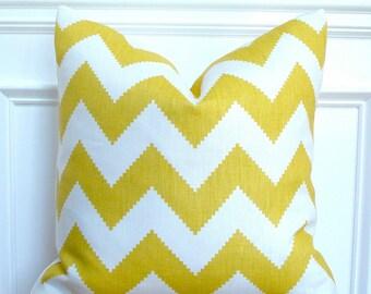 Yellow chevron pillow cover, yellow chevron pillow, jonathan adler pillow, yellow chevron fabric pillow, beach/coastal decor - 20 x 20 inch