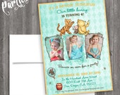 Vintage classic Winnie the pooh Birthday party siblings twins or  Vintage Nursery Book invite diy print file OR  Printed is available