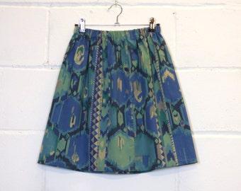 Upcycled Blue Aztec Skirt