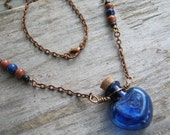 Blue Heart Vial Necklace, Goldstone Necklace, Glass Heart Jewelry, Antique Copper Necklace, Choose Length, Bottle Necklace, READY To SHIP