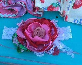 Matilda Jane Headband- Baby Girl Headband- Baby Headbands -Strawberry Headband- Matilda Jane  headband- Pink and Red Headband