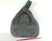 Knitting Tote Bag, Large Knitting Project Bag Japanese Knot Bag Navy Coral Abstract