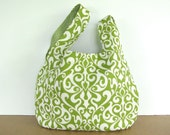 Tote Bag, Lime Damask Knitting Bag, Women's Handbag, Japanese Knot Bag