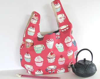 Cupcakes Knitting Bag, Knitting Project Tote Bag, Japanese Knot Handbag