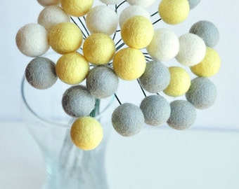 Pastel billy ball flowers, pom pom flowers, yellow grey craspedia, billy button flowers, office bouquet, felt billy buttons, felt balls