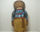 Sioux, soft sculpture Grandmother Doll primitive tribal folk child toy birthday gift collectible
