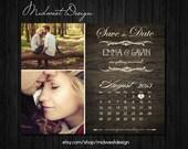 Save The Date Magnet or Card . Vintage Calendar