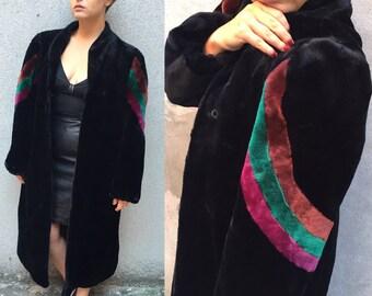 Black and Rainbow Long Faux Fur Coat Size Large