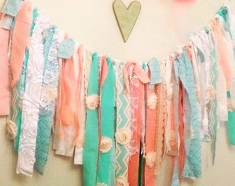Teal, mint, coral, Shabby rose banner, baby nursery shower, birthday banner, wedding banner. Perfect for back round photo prop, 36 inches.
