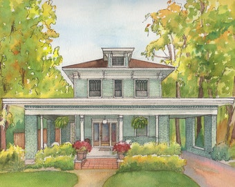 Watercolor House Portrait, Custom Vacation home or Cottage painting, Original painting from your photo, Home architectural sketch in color
