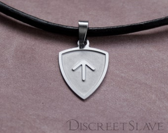 Stainless steel Master's top arch shield etched. Pendant for owners, Dominant or Masters in a BDSM relationship. Stainless steel collection