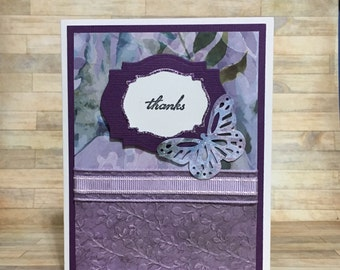 Thank you card, greeting card, all occasion card, butterfly, handmade card