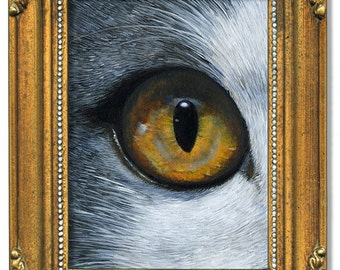 Mon petit ami, acrylic on gessoboard 4 x 5 inches, 10 x 12.7 cm,  gold frame