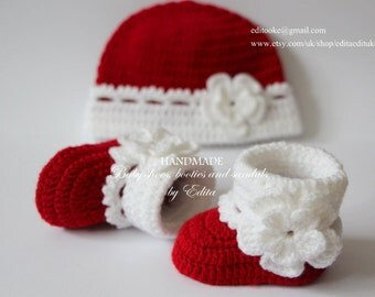 Crochet baby booties and hat set, baby girl, shoes, boots, socks,  beanie, red, white, Valentine's day, size 0-3 months, baby shower gift