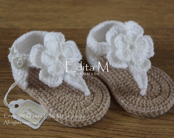 Crochet baby sandals, baby gladiator sandals, baby booties, baby shoes, slippers, 0-3, 3-6 months,flower sandals, gift for baby, baby shower