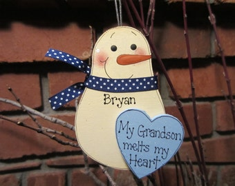 Personalized Snowman Ornament - My Grandson Melts my Heart