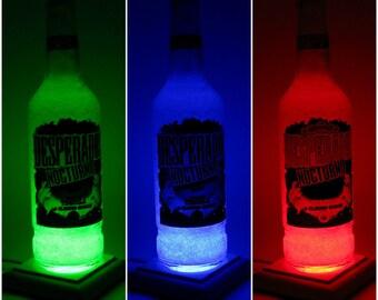 Diamond efekt bottle light - upcycled Desperados beer bottle multicolor lamp with wood base, unique christmas gift