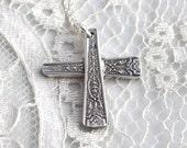 Silverware CROSS Pendant - Choice of Chain or No Chain - Ancestral 1924 - Silverware Jewelry - CHRISTIAN, First Communion GIFT
