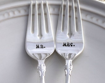 Wedding DESSERT Forks Cake Table Setting - i do, me too - EMPRESS 1969 - Wedding Decor Hand Stamped Silverware - Ready To Ship
