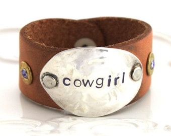 Spoon Bracelet w/ LEATHER & AMMO Stamped with Cowgirl in Lavender .45 Caliber Ammo Decorations Bullet Bracelet Shabby Chic and Made in Usa