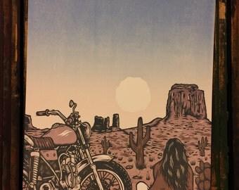 Linocut Art Print - The Monuments